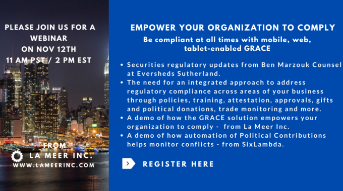 "La Meer Organizes Webinar On ""Empower Organization To Comply"""