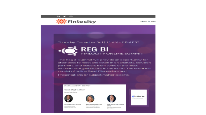 "La Meer Webinar Video On ""Impacts Of Reg BI On Advisors"" In The Finlocity's Reg BI Online Summit"